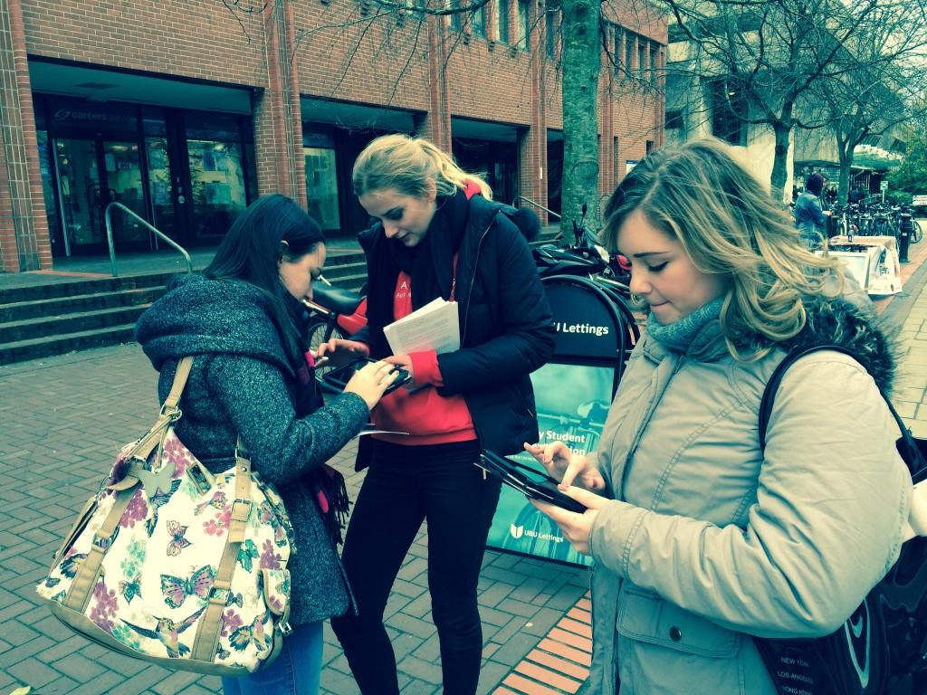 Varii promotional staff at the University of Bristol